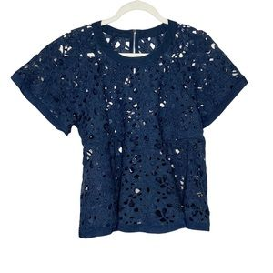 Style Tree embroidered floral lace crochet eyelet flared peplum top medium